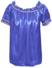 Bata Cigana Tradicional Manga Curta Azul Royal